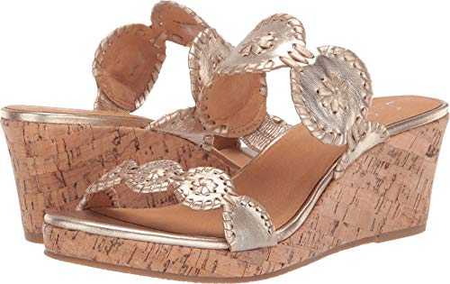 Jack Rogers Women's Lauren Mid Wedge Platinum/Platinum, used for sale  Delivered anywhere in USA