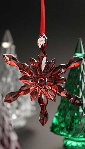 Baccarat 2014 Snowflake Ornament, Red Mirror by Baccarat