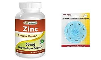 Mejor suplemento Naturals Zinc como Zinc gluconato 50mg 240 comprimidos con gratis 7 días plástico píldora