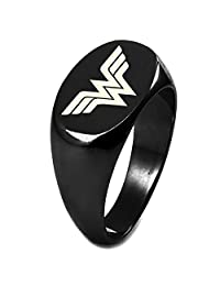 Sterling Silver DC Wonder Woman Logo Engraved Oval Flat Top Polished Ring