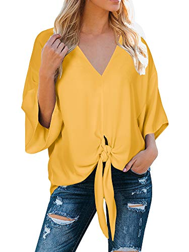 Womens V Neck Tie Knot Front Tops 3/7 Bat Sleeve Shirts Soild Color Casual Loose Shirts - Top V-neck Tunic Sleeve