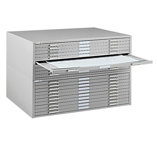Mayline C-Files 10 Drawer Metal Flat Files Cabinet for 30'' x 42'' Documents - Gray by Mayline