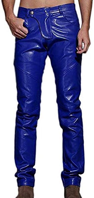 Biddtle męskie spodnie jeansowe ze skÓry, cienkie, aksamitne, z patchworkiem, wąskie dopasowanie, na imprezę, niebieski, 32: Sport & Freizeit