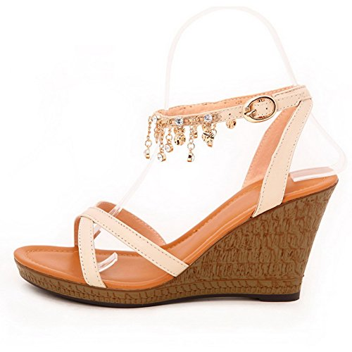 AgooLar Women's Soft Material Buckle Open Toe High-Heels Solid Sandals Beige PHhJubF