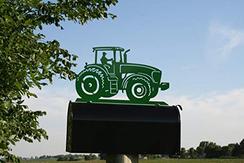 Modern Green Tractor Metal Mailbox Topper - Modern Tractor Green