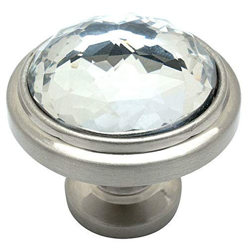 Crystal Traditional Cabinet - Cosmas 5317SN-C Satin Nickel Cabinet Hardware Round Knob with Clear Glass - 1-1/4