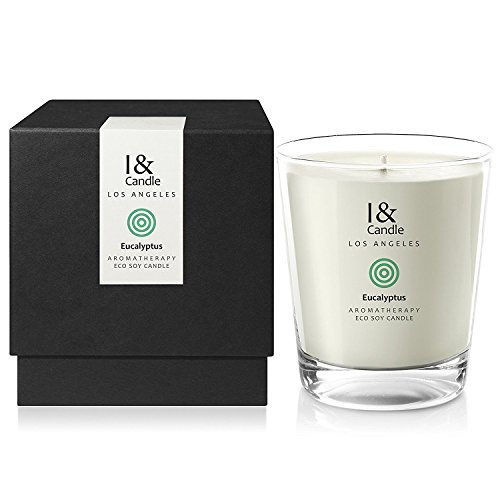 I & CANDLE, EUCALYPTUS AROMATHERAPY ECO SOY CANDLE. Made in the USA with Pure Essential Oils Blend and All Natural Ingredients. 10.5 oz.(297g)