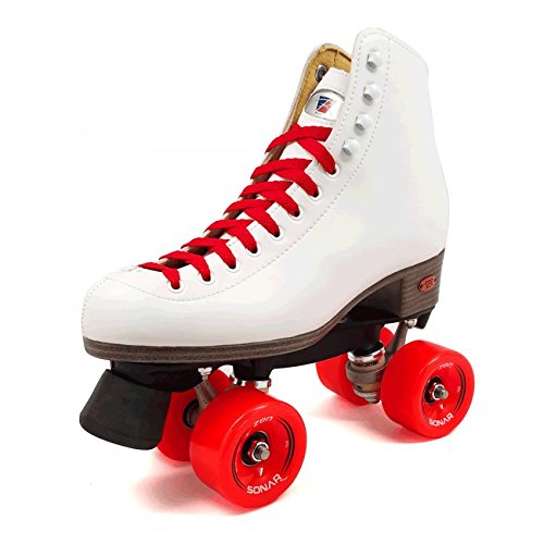 Riedell Citizen Outdoor Womens Rhythm Roller Skates w/ 3 Wheel and Lace Color Choices (Green, Pink or Red) - Best Skate for Outdoor Skating - Red Size 4