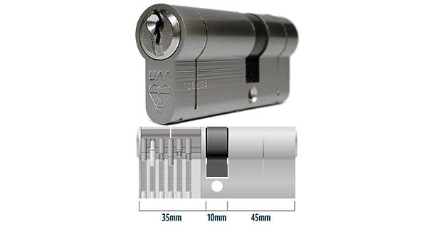 Anti-Snap Euro bombín de cerradura para puerta 35 - 10 - 45 (90 mm) níquel - TS007: Amazon.es: Bricolaje y herramientas