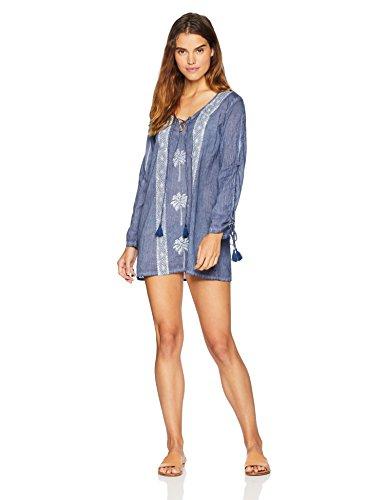Wild Oasis Women's Swimwear Beachwear Block Printed Dress Top Medium Blue
