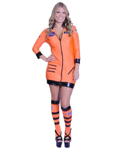Underwraps Women's Cosmic, Orange, Small (Astronaut Halloween Costume Ideas)