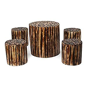 Aafiya Handicrafts Bloque De Madera Wooden Round Coffee Table with 4 Stool, Coffee Set 4 Seater Solid Wood | Balcony Table Stool Set | Coffee Table | Glossy Finish