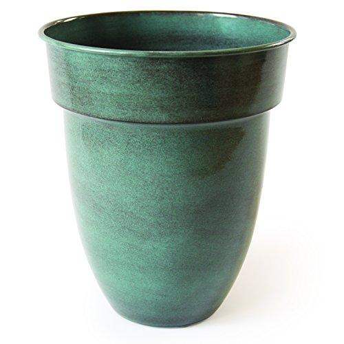 Robert Allen Home & Garden MPT01957 Ironstone Bella Classic Metal Planter Flower Pot, 15 inch Venti, River Mist ()
