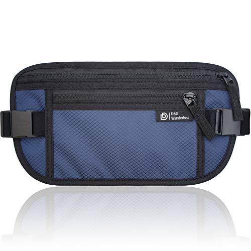 D&D RFID Blocking Money Belt for Travel - Waterproof Hidden Travel Wallet Waist Pouch for Men and Women – Free eBook by D&D Products