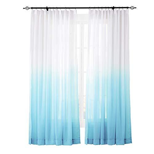 ChadMade Indoor Outdoor Gradient Ombre Sheer Curtain Pinch Pleat Sky Blue 52