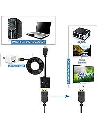 Adaptador HDMI a DisplayPort, anbear HDMI a DisplayPort Cable (macho a hembra) para pantallas de sobremesa y portátiles HDMI a DisplayPort Monitor de entrada
