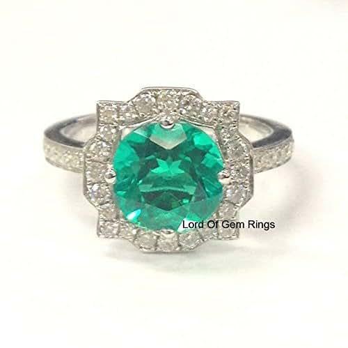 3e271fe43736a Amazon.com: Round Emerald Engagement Ring Art Deco Moissanite Halo ...
