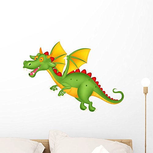 (Wallmonkeys Cute Dragon Flying Wall Decal Peel and Stick Graphic (24 in W x 17 in H) WM119425)