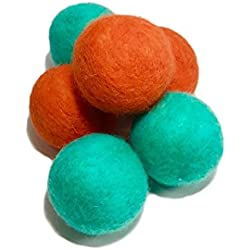 100% Wool Felt Cat Ball Toy- All Natural- Safe, Eco-Friendly-6 Pack- Coral/ Teal