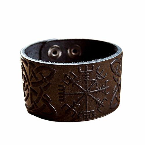 Amazon Com Real Leather Viking Runes Bracelet 6 3 7 Wrist