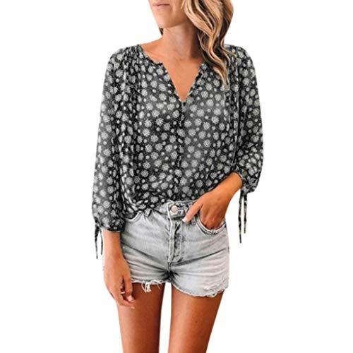 TIFENNY Women's Dot Print Casual Loose Tops Summer 3/4 Sleeve V-Neck Shirts Office T-Shirt Tops Blouse Black