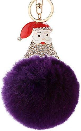 レディースキーホルダー・チャーム 女性女の子財布ハンドバッグトートバックパック携帯電話の装飾サンタクロースファーボールキーホルダー付きラインストーンポンポンバッグチャームペンダントクリスタルカーキーホルダーキーホルダーアクセサリー 可愛い 飾り プレゼント (色 : 紫の)