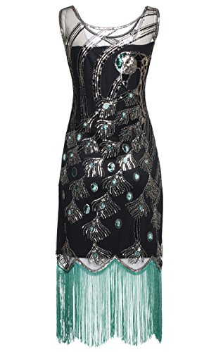 BABEYOND 20s Vintage Peacock Sequin Fringed Party Flapper Dress