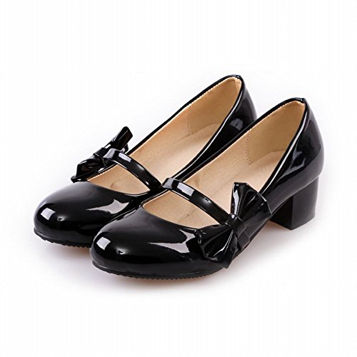 Latasa Womens Cute New Arrival Bow Round-toe Chunky Mid Heel Pumps Shoes Black URb6S9oHzR