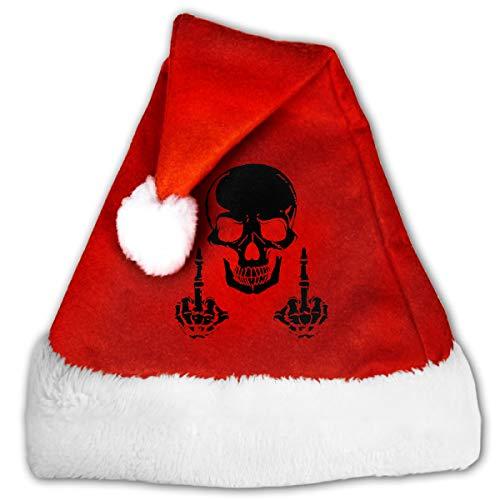 Goods Shops Unisex Santa Hat Velvet Christmas Hat Fuck Skull Skeleton Christmas Hat 29 -