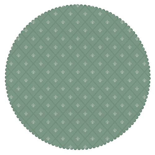 iPrint Unique Round Tablecloth [ Fleur De Lis,Abstract Geometric Pattern with Rectangles and Royal Lilies Floral Elements Decorative,Reseda Green ] Home (Moss Green Fleur De Lis)