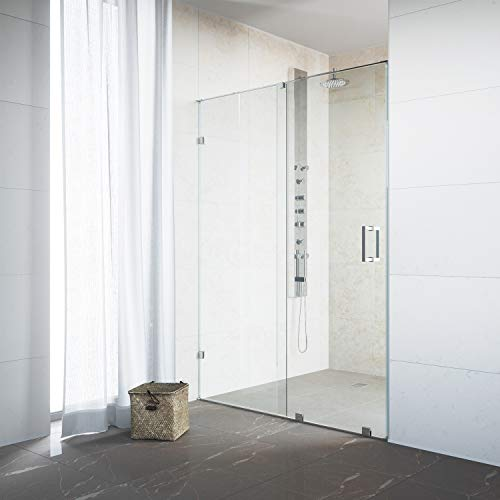 "VIGO VG6045CHCL6273 Ryland 60 – 62 inch Sliding Frameless Shower Door with 3/8"" Clear Glass and 304 Stainless Steel Hardware, in Chrome Finish"