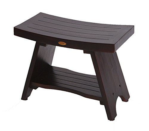 DecoTeak Serenity 30'' Eastern Style Teak Shower Bench Stool With Shelf by Decoteak