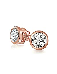 Bling Jewelry Bezel Set Round CZ Rose Gold Plating Sterling Silver Stud Earrings 8mm