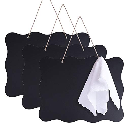 AUSTOR 3 Pack Chalkboard Sign 8x10 inch Double Sided Erasable Message Board with Hanging String and Cleaning Cloth for Wedding, Kitchen and Crafts -