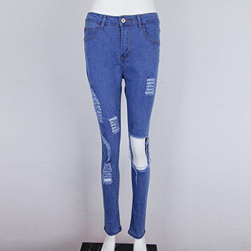 Pour Dchir En Femme Taille Jean Bleu Pantalon S Stretch Haute XL Extensible Dchir Prettyia Denim P Genou p4xzIA