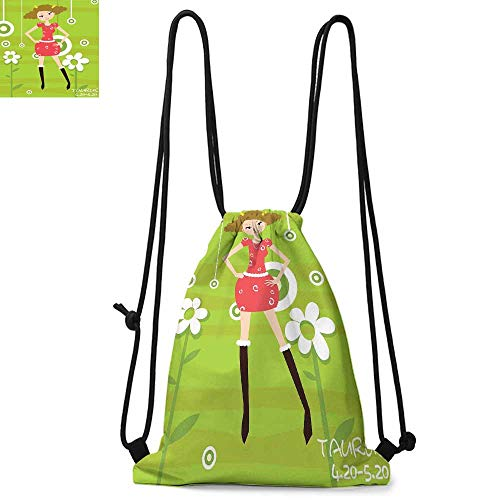 Zodiac Taurus Durable Drawstring Backpack Fashion Taurus Young Girl Standing on Green Floral Backdrop Teenage CartoonSuitable for carrying around W13.4 x L8.3 Inch Multicolor