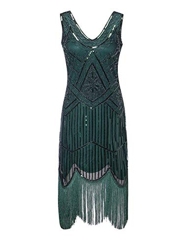 Women's 1920s Gatsby Cocktail Sequin Beaded V-Neck Fringed Tassels Hem Flapper Dress (3XL, Green)]()