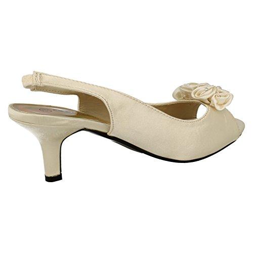 Spot On Heeled Peeptoe Sling Sandal Rosette Vamp Ivory 9Ew26ta