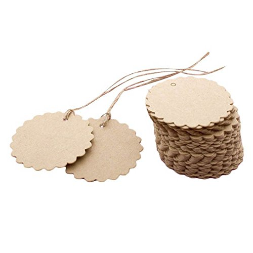EORTA 100 Pieces Kraft Paper Round Tags with Jute String Small Laciness Paper Hanging Tags Blank Labels Brown Gift Cards with Hole for DIY Art Craft Handmade Bottle Decoration Bag -