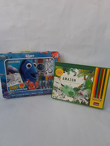 finding Dory activity set includes 1 activity storybook with stickers 5 markers and 1 tin case also comes with a bonus adult amazon coloring for mindfulness set
