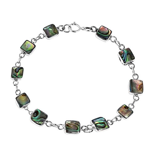 AeraVida Modernist Square Abalone Shell Double Sided .925 Sterling Silver Link Bracelet