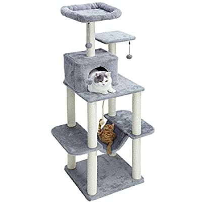 Cat Tree PAWZ Road 60 Inches Cat Tree Multilevel Cat Towers with Luxury Condos,Fully Wrapped Sisal Scratching [tag]