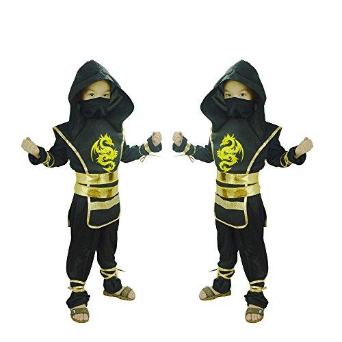 Girl Ninja Costume Makeup (GDreamer Ninja Costume for Kids Boy Halloween Costume Cosplay Party Virtual Fighter Mortal Combat NinJa 4-12 (L - 6x/7))