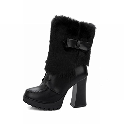 Carolbar Vrouwen Strikjes Zoete Namaakbont Lolita Cosplay Zip Hoge Hak Winter Jurk Laarzen Zwart