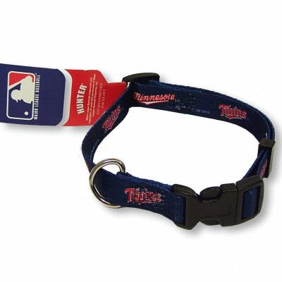 MINNESOTA TWINS ADJUSTABLE NYLON DOG PET COLLAR SZ L