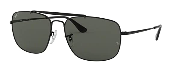 7a39023574 Amazon.com  Ray-Ban RB3560 THE COLONEL 002 58 58M Black Green Polarized  Sunglasses For Men For Women  Clothing