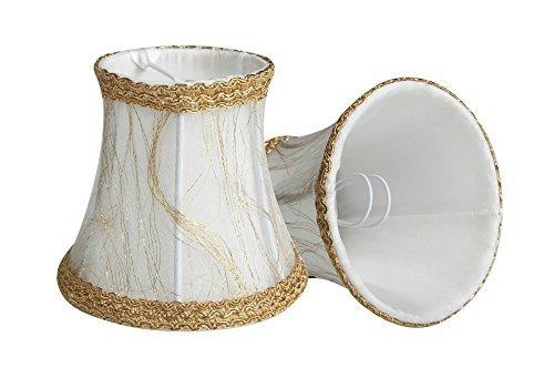 Splink - Lote de 2 pantallas de lámpara de estilo europeo, con pinza, hechas a mano, para velas, lámparas colgantes, bombilla de pared, lámpara de ...
