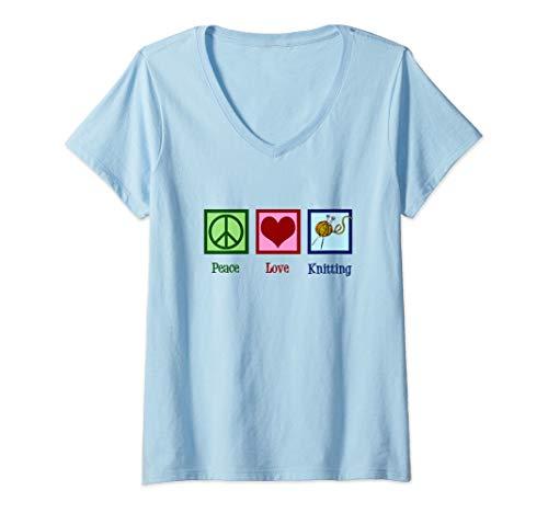 Womens Peace Love Knitting V-Neck T-Shirt ()