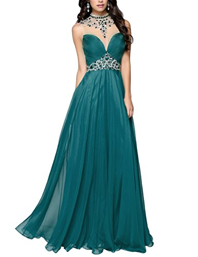 DarlingU Women's High Neck Beaded Prom Evening Dress Backless Formal Party Gown Teal 16