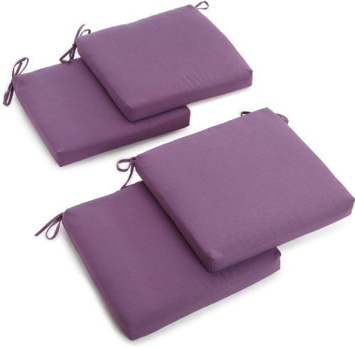 Blazing Needles Twill 19-Inch by 20-Inch by 3-1/2-Inch Zippered Cushions, Grape, Set of 4 (Gp Furniture Patio)